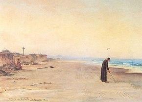 Padre Anchieta escreve o Poema à Virgem nas areias de Iperoig - Tela de Benedicto Calixto.