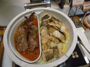 Lamb chops, grilled barramundi
