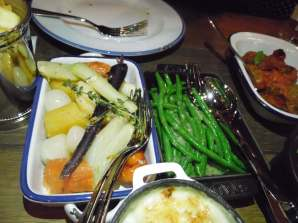 Roasted vegetables and green beans
