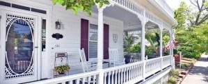 The porch at Pecan Tree, an elegant Beaufort, North Carolina inn
