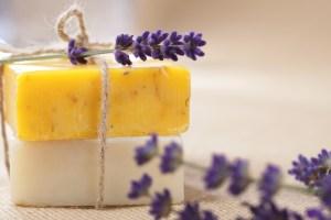 handmade  soap bars with lavender flowers, shallow DOF