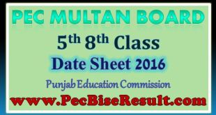 Multan 5th 8th Class Date Sheet 2016