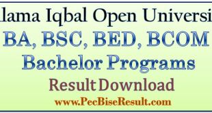 Allama Iqban Open University BA BSC BED BCOM Result 2017