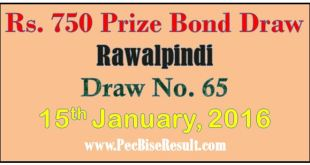Rawalpindi 750 Rupee Prize bond Draw List 2016