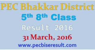 Bhakkar District 5th 8th Class Result 2016