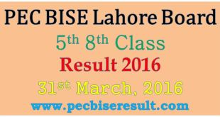Online 5th 8th Class Result 2016 Lahore Board