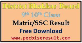 Matric Result 2016 Bhakkar Board