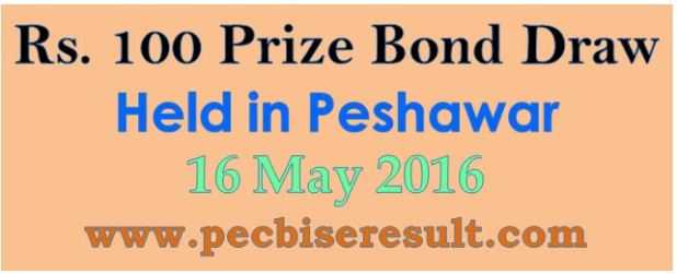 Prize Bond Draw List Rs. 100 16/05/2016