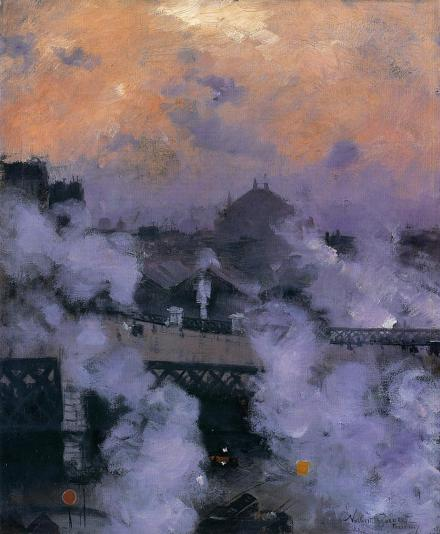 Norbert Goeneutte, Le Pont de l'Europe la nuit, 1887, collection Julian Sofaer.