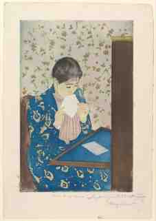 Mary Cassatt, La Lettre, pointe sèche et aquatinte, impression en couleurs sur trois plaques, 1890-1891, New-York, The Metropolitan Museum of Art.