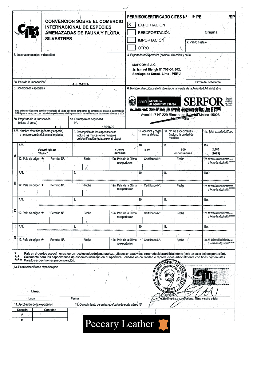 Certificado CITES
