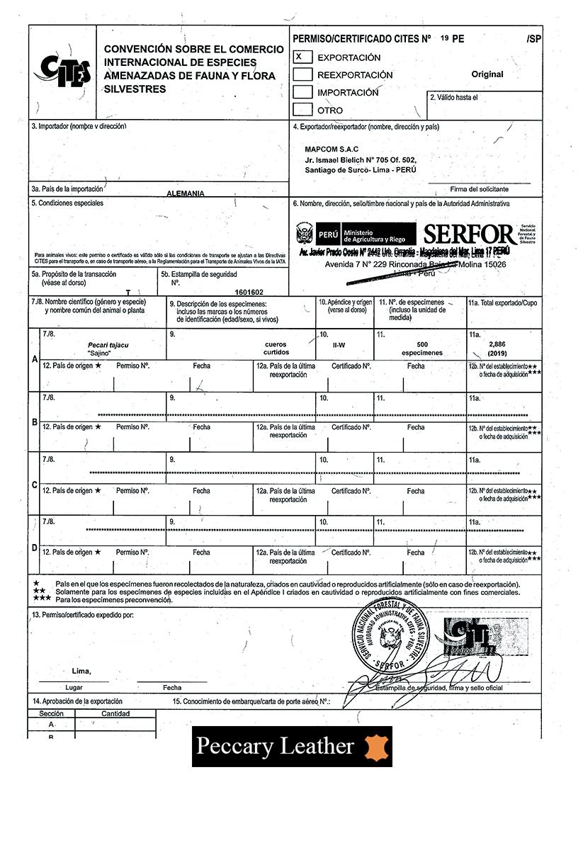 CITES Certificat