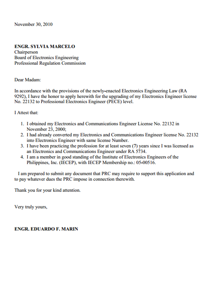 PECE 101 Application for Professional Electronics Engineer part 2  The Professional
