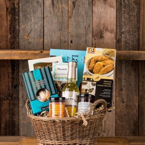 Sweet and savoury gourmet food gift basket