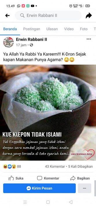 Viral Klepon Bukan Makanan Islami : viral, klepon, bukan, makanan, islami, Viral, Klepon, Disebut, Islami,, Diduga, Hoaks, Pecihitam.org