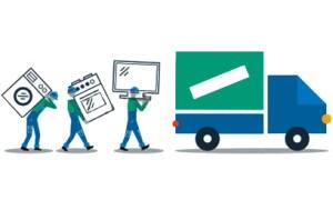 Image illustration of removal med loading a van
