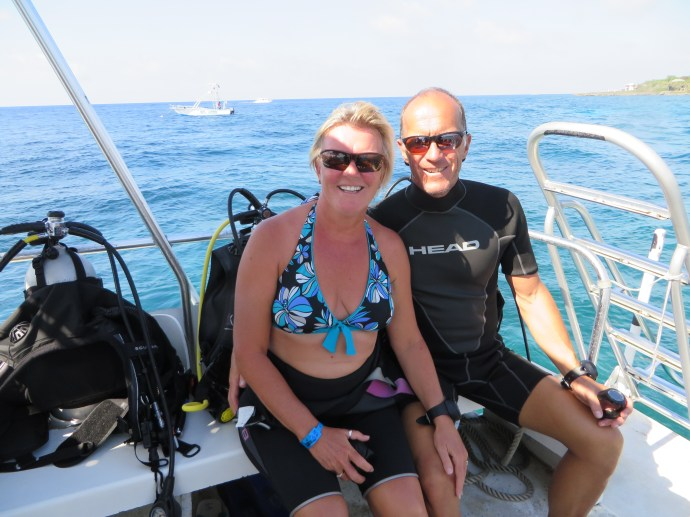 Karen and I before starting a dive on another beautiful day.