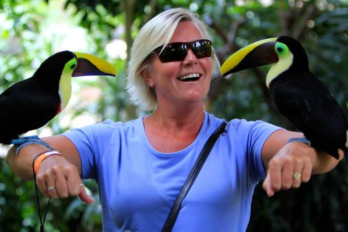 Karen enjoying some of the birds on display