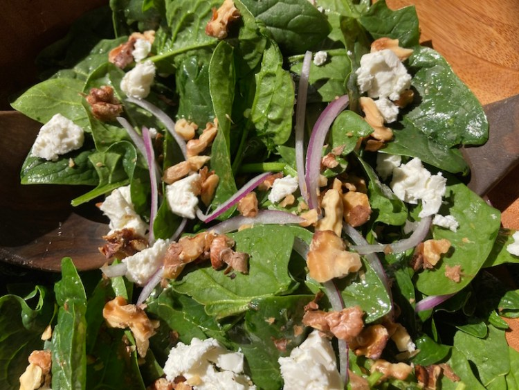 Spinach Salad with Honey Mint Dressing