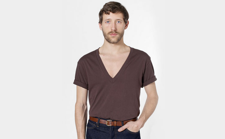 Twink brown V-neck cute guy