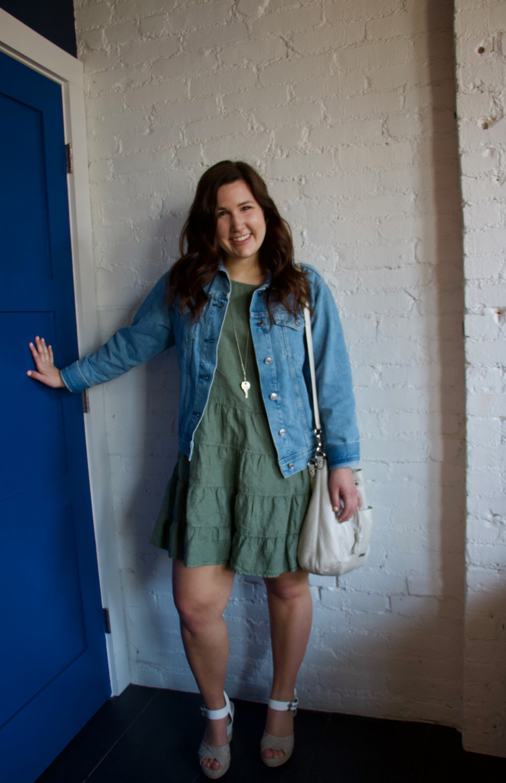 Green Linen Dress and Everlane Denim Jacket