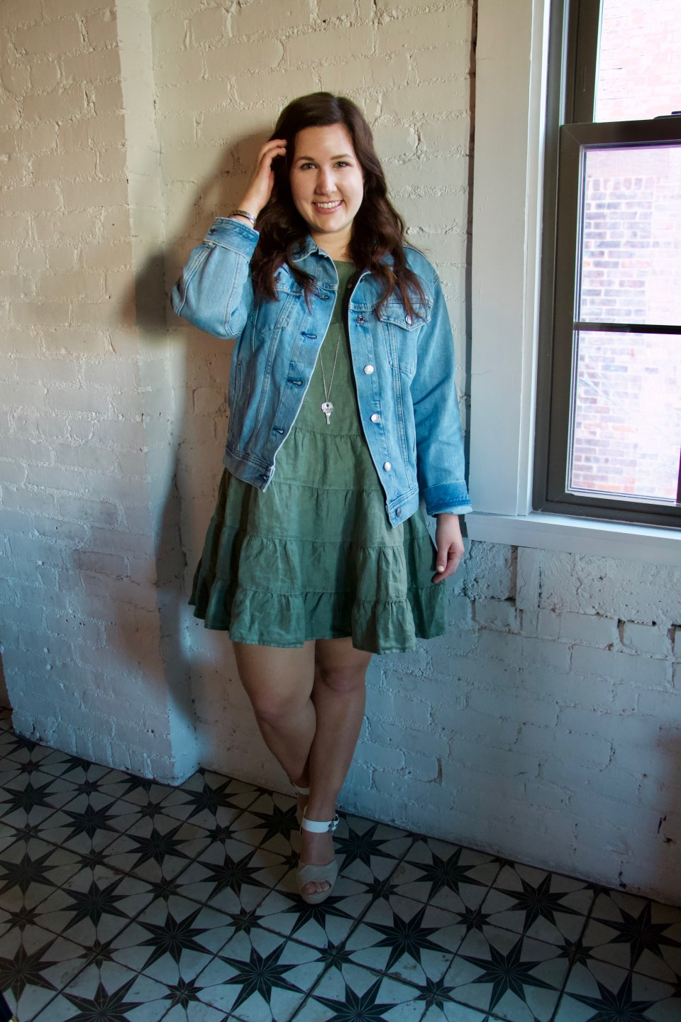 Green Linen Dress and Everlane Denim Jacket