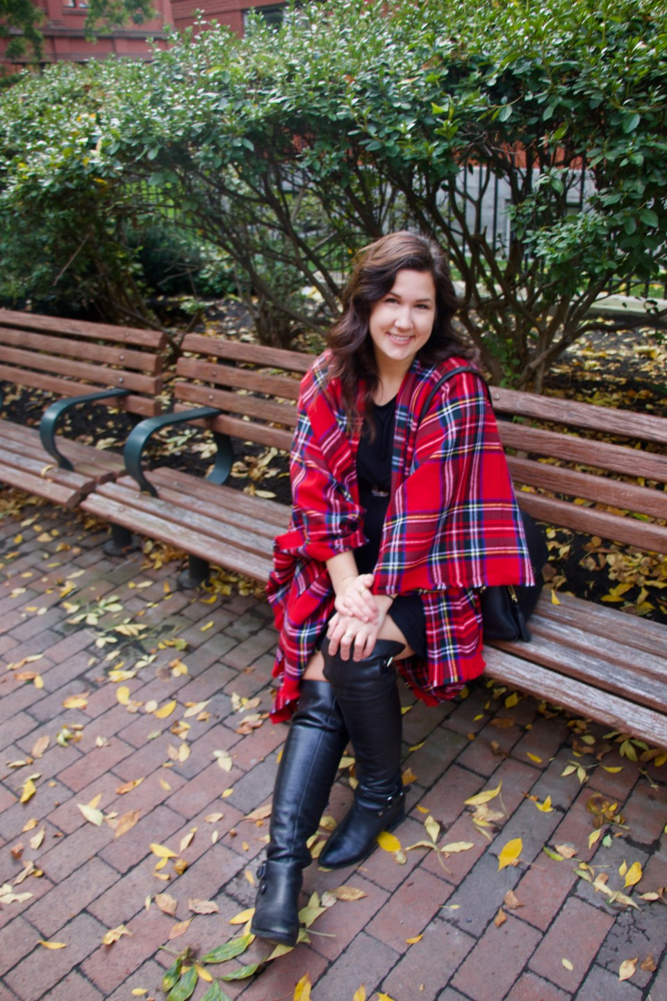 Red, Plaid Poncho