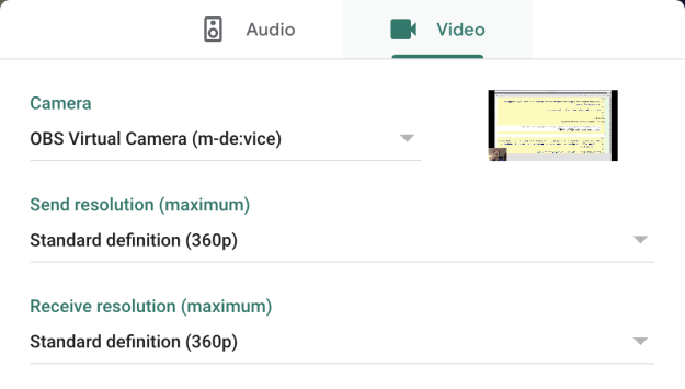 Meet Video Configuration