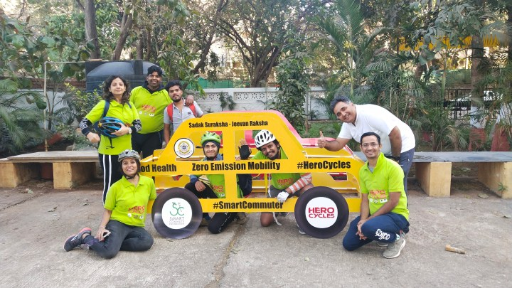 MUMBAI CYCLIST IMITATE CARS TO PROMOTE ROAD SAFETY