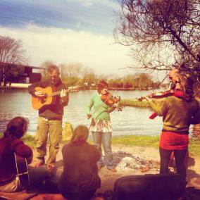 Jam by the river in Oxford during tour 1