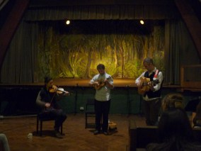 On stage during Bedales Edward Thomas concert