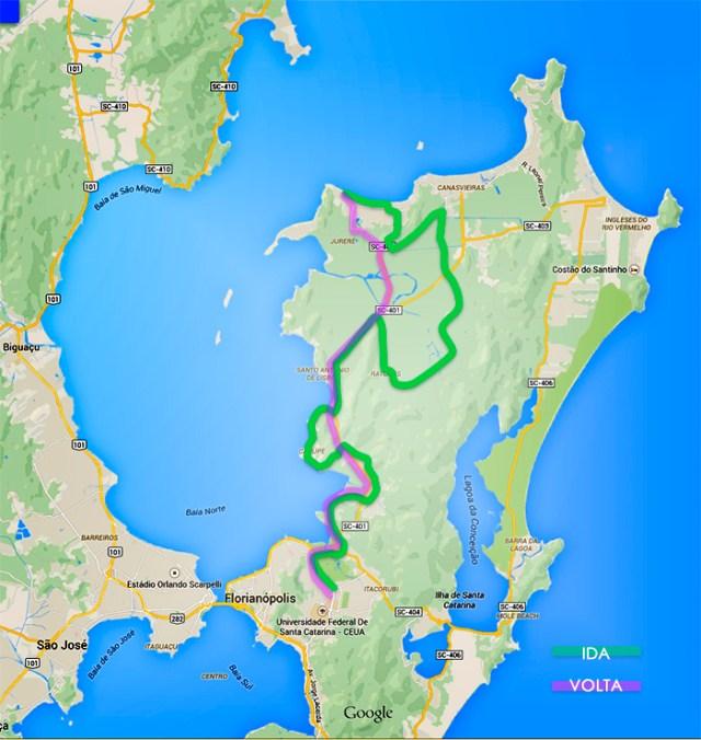 Mapa do trajeto feito