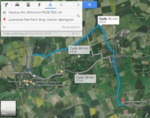 It is less than 7 miles and 3/4 of an hour to get to Laverstoke Park Farm by bicycle when taking the off-road Harroway north of town.