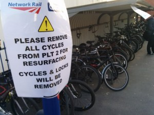 "Tuesday: Signs erected telling people (""customers"") to remove their bicycles - but to where?"
