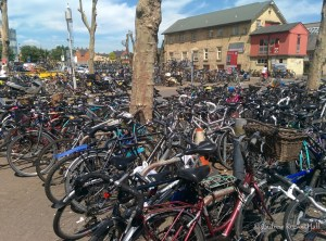 More than a handful of people cycle in Cambridge. This is the bicycle parking at the railway station!