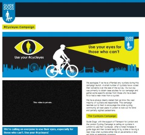 The #cycleyes campaign at the Guide Dogs website was updated with an apology.
