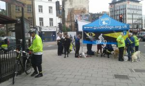 A marquee was erected in London to launch the Guide Dogs campaign called #cycleyes (photo: London Cycling Campaign)