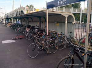 Although there's just 74 designated spaces on platform 2 to park a bicycle, many more are chained to posts and railings.
