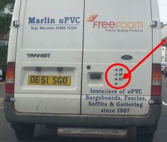 Freefoam installer's van with cyclist sticker
