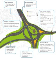 The plan for the rebuilt Black Dam roundabout in Basingstoke.