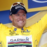 Garmin-Cervelo's Thor Hushovd (Nor) in yellow. [P] Slipstream Sports