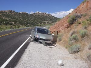 Ministering out on the road after a car crashes in front of me, Nevada desert, 2011