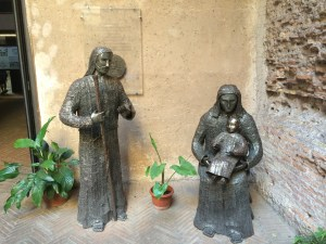 Jesus, Mary and Joseph in front of Anglican Church in Rome, 2014
