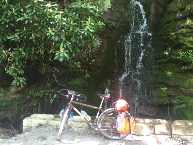 bicycle touring the GAP waterfall
