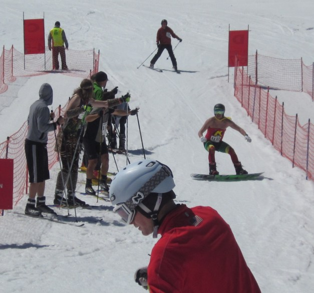 Here was Robin (Jon) finishing up the alpine ski leg of the race.