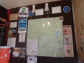 A map of Oakridge at the front of the brewery helps MTB riders dream up their next trip while aided by the clear-minded reasoning that results from such establishment's beverages.