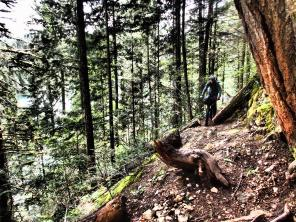 There were a couple nasty eroded sections on the trail. We walked this one.