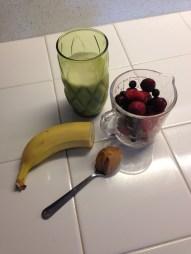 Mixed berries + banana + almond milk + PB