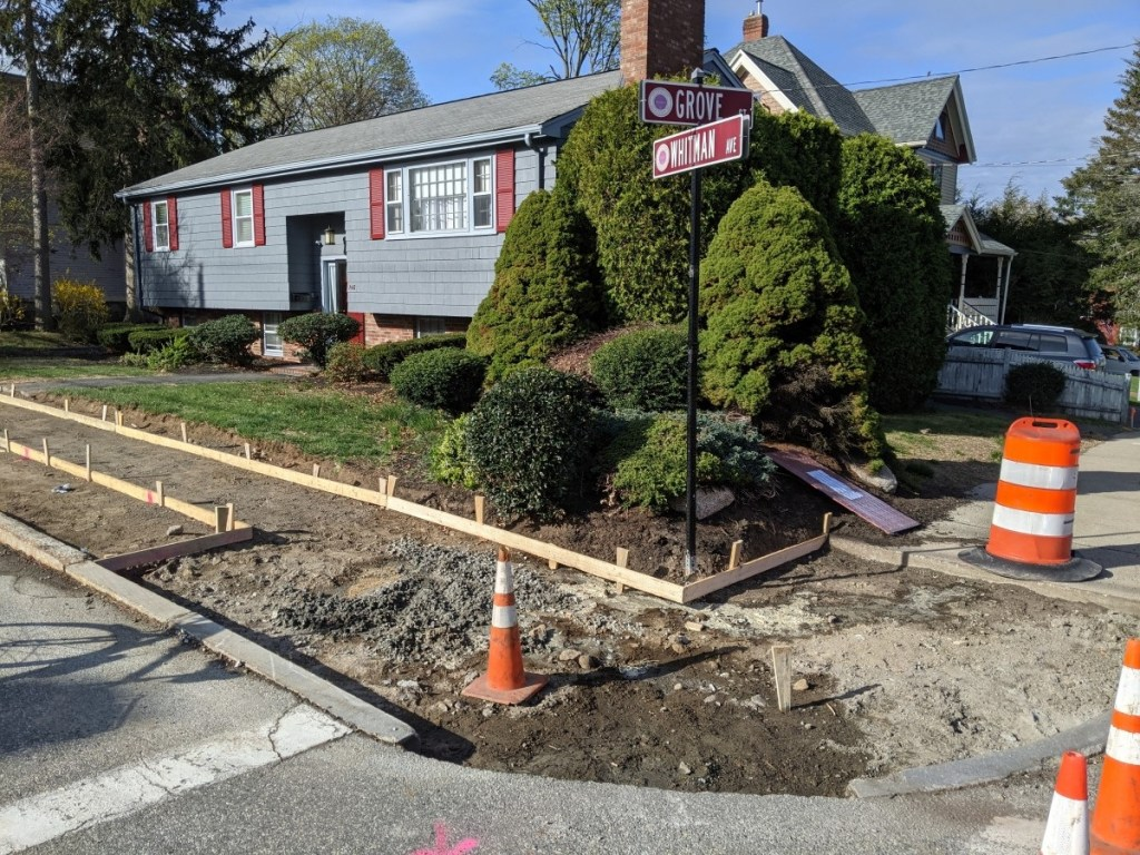 Sidewalks being placed at Whitman & Grove in Melrose, MA