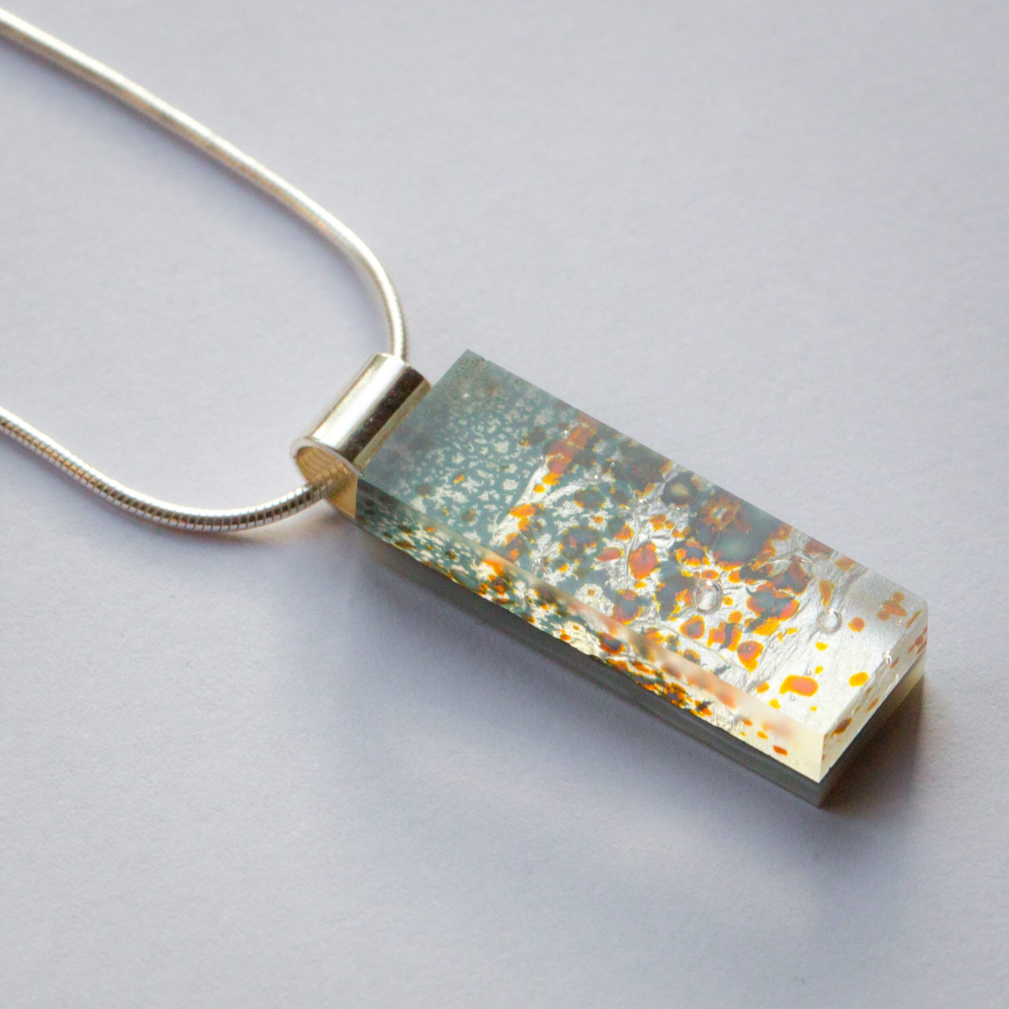 Lucie Harris Glass, small light blue pendant with silver chain